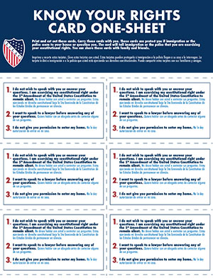 Know Your Rights: Card One-Sheet